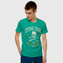 Футболка хлопковая мужская Stone Sour: Gold Bones цвета зеленый — фото 2