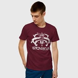 Футболка хлопковая мужская Stone Sour цвета меланж-бордовый — фото 2