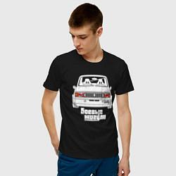 Футболка хлопковая мужская Ваз 2105: Боевые Жигули цвета черный — фото 2