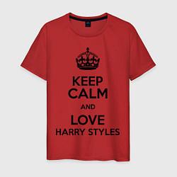 Футболка хлопковая мужская Keep Calm & Love Harry Styles цвета красный — фото 1