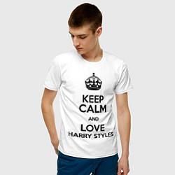 Футболка хлопковая мужская Keep Calm & Love Harry Styles цвета белый — фото 2