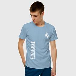 Футболка хлопковая мужская FERRARI цвета мягкое небо — фото 2