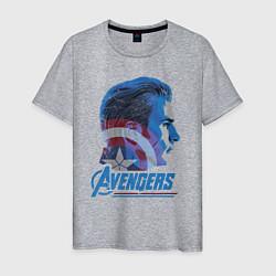 Футболка хлопковая мужская Captain America: Avengers цвета меланж — фото 1