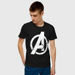 Мужская хлопковая футболка с принтом Avengers Symbol, цвет: черный, артикул: 10176872900001 — фото 2