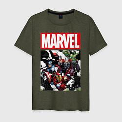 Футболка хлопковая мужская Avengers: Marvel Heroes цвета меланж-хаки — фото 1