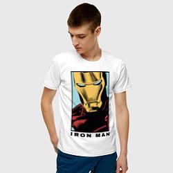 Футболка хлопковая мужская Iron Man цвета белый — фото 2