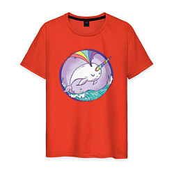 Футболка хлопковая мужская Нарвал-единорог цвета рябиновый — фото 1