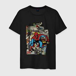 Мужская хлопковая футболка с принтом Spider-man comics, цвет: черный, артикул: 10180525100001 — фото 1