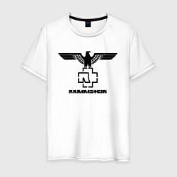 Футболка хлопковая мужская Rammstein Eagle цвета белый — фото 1