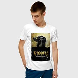 Футболка хлопковая мужская Гамора: дыхание улиц цвета белый — фото 2