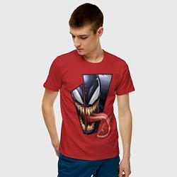 Мужская хлопковая футболка с принтом Venom with tongue sticking out, цвет: красный, артикул: 10184528700001 — фото 2