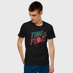 Футболка хлопковая мужская Time to float цвета черный — фото 2