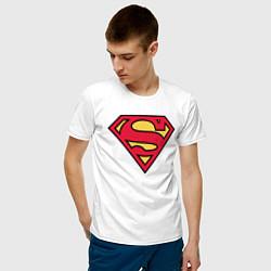 Футболка хлопковая мужская Superman logo цвета белый — фото 2