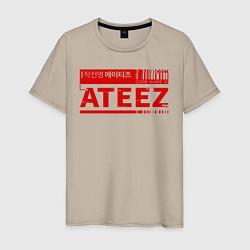 Мужская хлопковая футболка с принтом Ateez, цвет: миндальный, артикул: 10196156500001 — фото 1