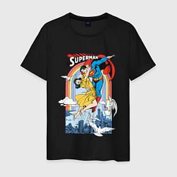 Футболка хлопковая мужская Superman цвета черный — фото 1