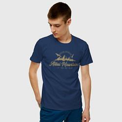 Футболка хлопковая мужская Алтай Gold Classic цвета тёмно-синий — фото 2