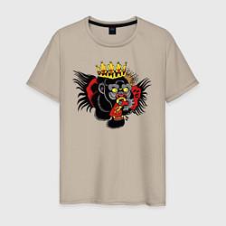 Мужская хлопковая футболка с принтом Тату как у Конор Макгрегор, цвет: миндальный, артикул: 10203882900001 — фото 1
