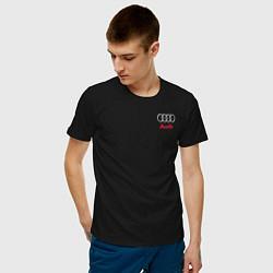 Мужская хлопковая футболка с принтом AUDI, цвет: черный, артикул: 10208286700001 — фото 2