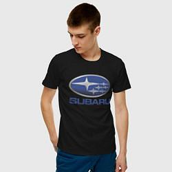 Футболка хлопковая мужская SUBARU цвета черный — фото 2