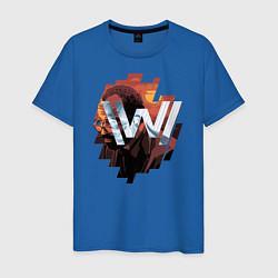 Футболка хлопковая мужская Bernard Low Westworld цвета синий — фото 1