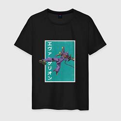Футболка хлопковая мужская Евангелион цвета черный — фото 1