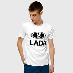 Футболка хлопковая мужская Lada цвета белый — фото 2