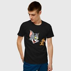 Футболка хлопковая мужская Tom & Jerry цвета черный — фото 2