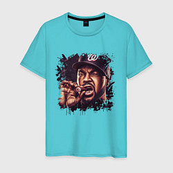 Футболка хлопковая мужская Ice Cube цвета бирюзовый — фото 1