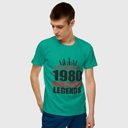Футболка хлопковая мужская 1980 - рождение легенды цвета зеленый — фото 2