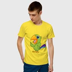 Мужская хлопковая футболка с принтом Мексиканский Попугай, цвет: желтый, артикул: 10237527300001 — фото 2