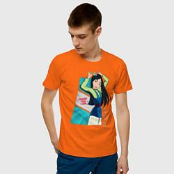 Футболка хлопковая мужская Tougher Than I Look цвета оранжевый — фото 2