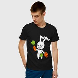 Мужская хлопковая футболка с принтом Злой заяц, цвет: черный, артикул: 10024790700001 — фото 2