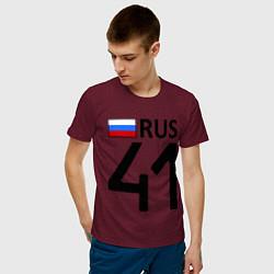 Футболка хлопковая мужская RUS 41 цвета меланж-бордовый — фото 2