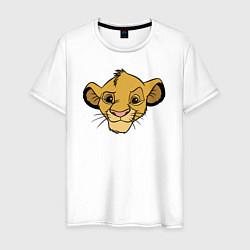 Мужская хлопковая футболка с принтом Львенок Симба, цвет: белый, артикул: 10266103300001 — фото 1