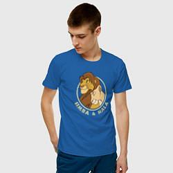 Мужская хлопковая футболка с принтом Симба и Нала, цвет: синий, артикул: 10266116700001 — фото 2
