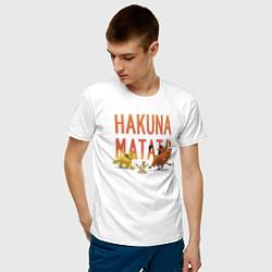 Мужская хлопковая футболка с принтом Хакуна Матата, цвет: белый, артикул: 10266209300001 — фото 2