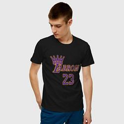Мужская хлопковая футболка с принтом LeBron James, цвет: черный, артикул: 10274113300001 — фото 2