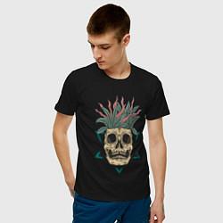 Мужская хлопковая футболка с принтом Череп Моргенштерна, цвет: черный, артикул: 10274274300001 — фото 2