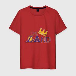 Мужская хлопковая футболка с принтом The LAnd, цвет: красный, артикул: 10274332700001 — фото 1