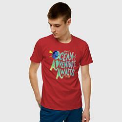 Футболка хлопковая мужская Ocean Adventuure Awaits цвета красный — фото 2