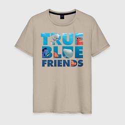 Футболка хлопковая мужская True Blue Friends цвета миндальный — фото 1
