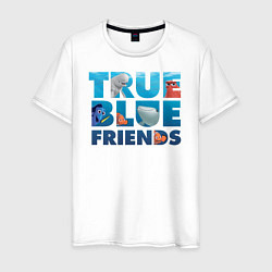Футболка хлопковая мужская True Blue Friends цвета белый — фото 1