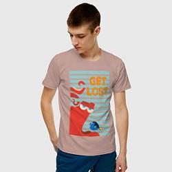 Футболка хлопковая мужская Get Lost цвета пыльно-розовый — фото 2