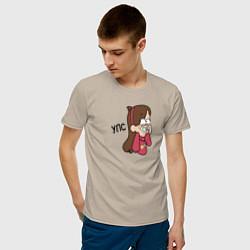 Мужская хлопковая футболка с принтом УПС, цвет: миндальный, артикул: 10275100700001 — фото 2