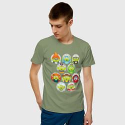 Футболка хлопковая мужская Пришельцы с планеты Пицца цвета авокадо — фото 2