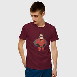 Футболка хлопковая мужская The Incredibles цвета меланж-бордовый — фото 2