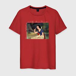 Футболка хлопковая мужская Белоснежка поёт цвета красный — фото 1