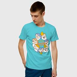 Футболка хлопковая мужская Семь гномов цвета бирюзовый — фото 2
