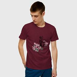 Футболка хлопковая мужская Flower цвета меланж-бордовый — фото 2