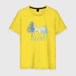 Футболка хлопковая мужская Bambi цвета желтый — фото 1